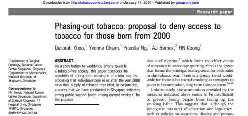 British Medical Journal article about denying peple born after 200 the right to buy tobacco