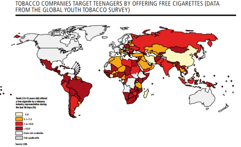 Tobacco companies give free cigarettes to teenagers around the world