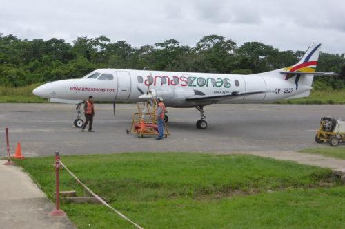 Amaszonas plane safely on ground at Rurrenabanque
