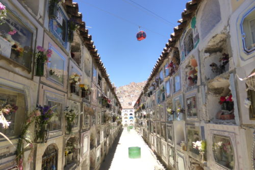 Teleferico passing over the Cemetery