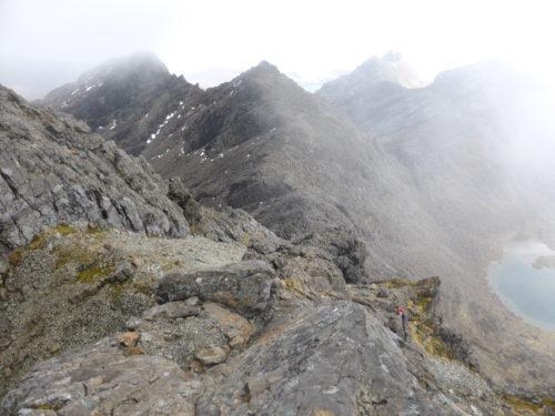 Descent in gathering mist